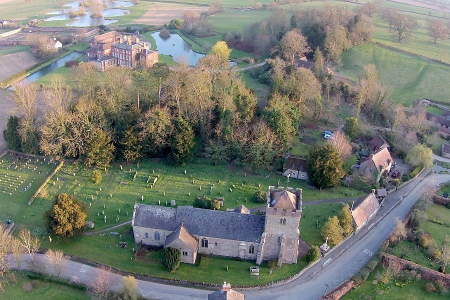 Aerial view of unique Shropshire country wedding venue