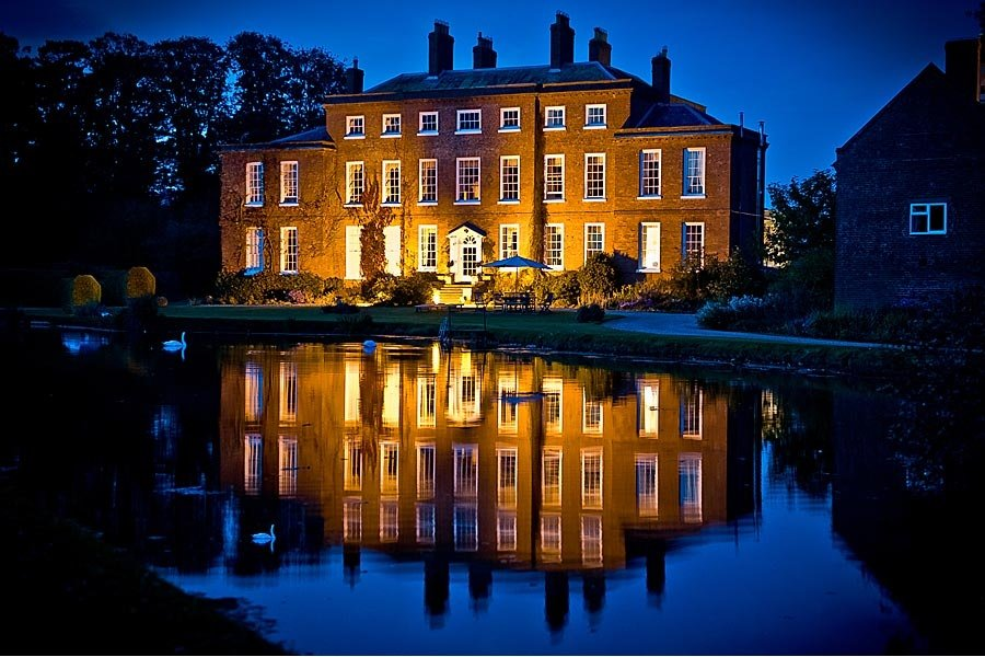 Shropshire wedding venue lit up at night
