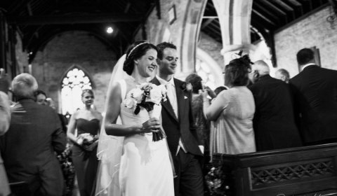 Bride and groom at St Peter's Church Shropshire wedding venue